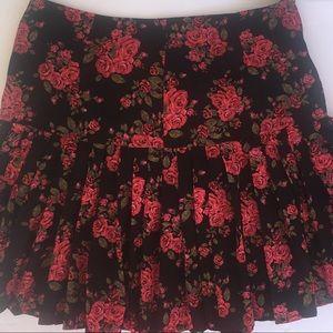 Hinge Pleated Romantic Floral Print Skirt 2